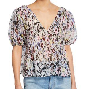 Ganni Pleated Georgette Floral Blouse
